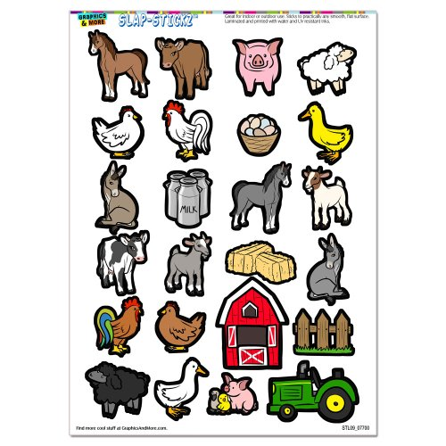 Farm Animals - Pig Chicken Cow Sheep Rooster Duck Barn SLAP-STICKZ(TM) Party Scrapbook Craft Car Window Locker Stickers (Farm Window Decal compare prices)