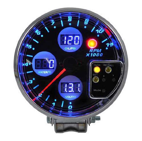 4 in 1 Digital Electronic 5 Inches Gauge Tachometer/ Water Temp/ Volt /Oil Press Gauge