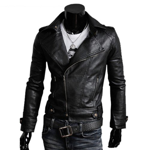 Zicac New Quality Trendy Men Cargo Pockets Zipper Casual PU / FAUX Leather Winter Slim Jacket Trench Coat Black (XXL/185cm/UK L)