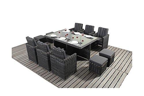 Manhattan Schwarz Gartenmöbel Balkon 6-Sitzer Cube Set
