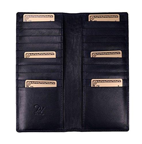 プラスエイチ(Plus H) 財布 カードケース レディース メンズ カード20枚収納 外内側両面レザークレジットカードケース レディース メンズ レザー 牛革 PH7979 (ネイビー)