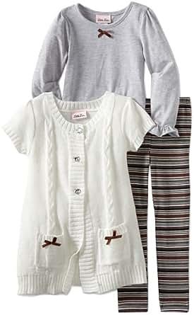 Little Lass Little Girls' Toddler 3 Piece Sweater Set With Pockets, Gray, 2T