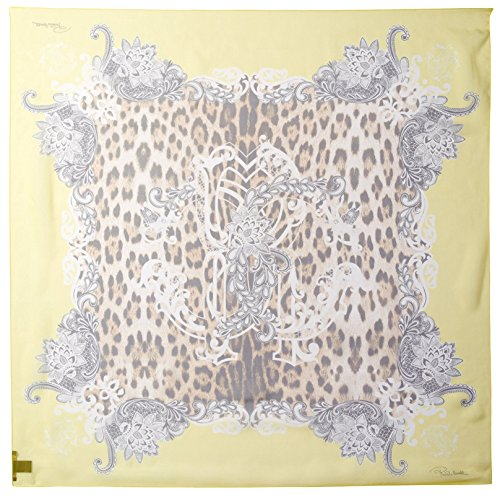 Roberto-Cavalli-Womens-Patterned-Silk-Scarf-YellowLeopard-Print