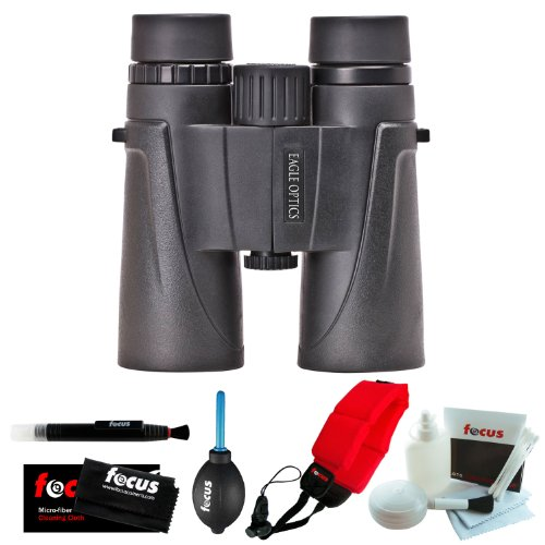 Eagle Optics Shrike 8X42 Binocular + Focus Foam Float Strap (Red) + Accessory Kit