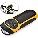 Ivation Bike Beakin: Portable Rechargeable Bluetooth Speakers & MP3 Player w/ MicroSD Card Slot, AUX Input, FM Radio & Built in Flashlight - Yellow