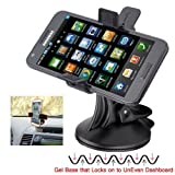 ChargerCity XL64GB Rigid Low Profile GelBase GripLock Universal Dashboard Windshield Suction Car Mount Holder with Unobstructed Camera View Recording for Apple iPhone 4S 5 5S 5C 6 /6 Plus Samsung Galaxy S5/S4/S3 NOTE 4 3 2, HTC One MAX ONEPLUS, Motorola