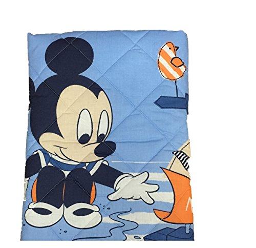 Trapuntino Primaverile Disney Topolino Mickey con paracolpi lettino culla azzurro