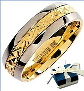 Mens Titanium Ring - Boxed 8mm Mens Gold Inlay Titanium Wedding Engagement Comfort Band Ring - Size Z (other sizes are available) from BTH