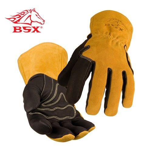 BLACK STALLION BSX® Premium Grain Pigskin Cowhide Back MIG Welding Gloves - XL