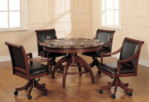 Buy Low Price Hillsdale 5pc Game Dining Table and Chairs Set in Medium Brown Cherry Finish (HS-4185GTBC)