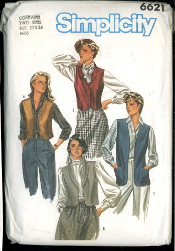 Vintage 1984 Simplicity Sewing Pattern 6621 - Misses Set of Lined and Unlined Vests
