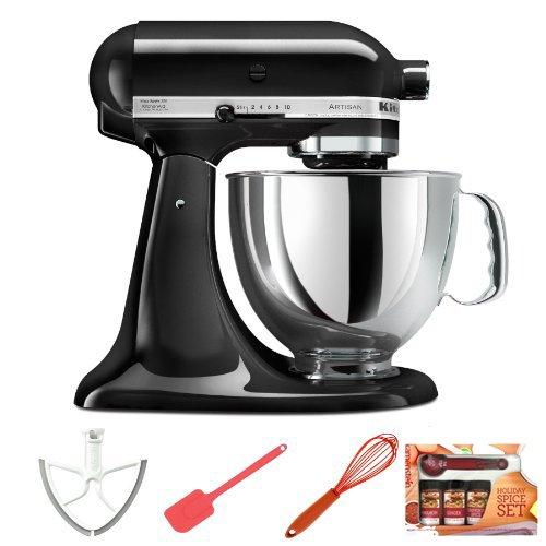 Kitchenaid Ksm150Psob Artisan Series 5-Quart Mixer Onyx Black + Metro Design Beater Blade + Measuring Spoon Set + 13-Inch Spatula + Silicone Whisk