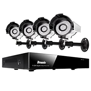 Zmodo 4CH H.264 Security Surveillance DVR Camera System & 4 Outdoor Night Vision Weatherproof Surveillance Cameras and No Hard Drive