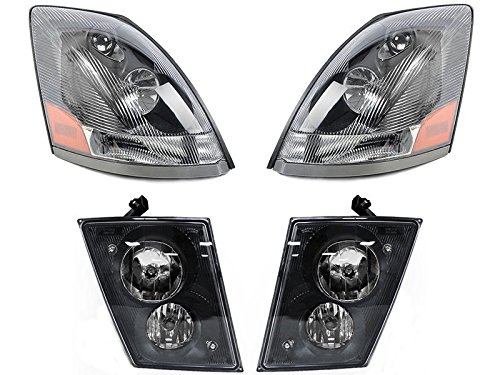 CPW (tm) 2004-2015 Volvo VN VNL Series Truck Replacement Headlights and Fog Light Set with DRL (Volvo Semi Fog Lights compare prices)