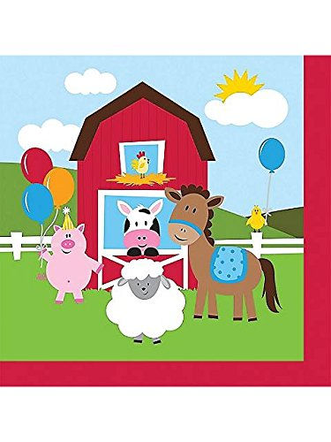 Farmhouse Fun Beverage Napkin (18) Farm Animal Barnyard Party