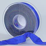 decoration ribbon with lurex taffeta gift ribbon with a wired edge 25mm wide 1 roll at 25m each blue
