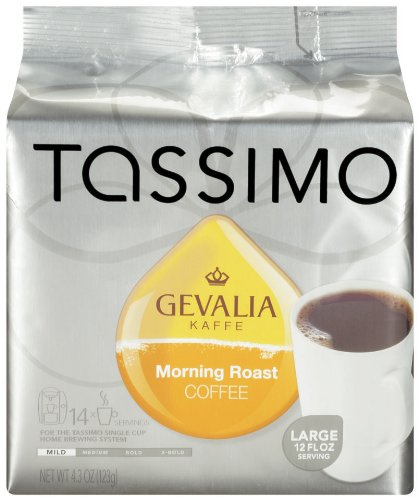 Gevalia Morning Roast Coffee (Medium Roast, 12-Ounce Servings), 14-Count T-Discs for Tassimo Coffeemakers (Pack of 2)