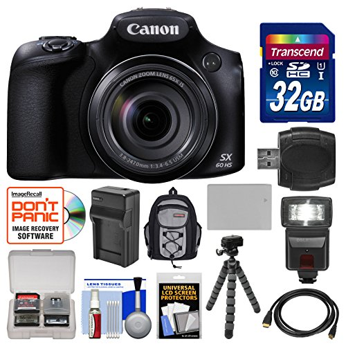 Canon PowerShot SX60 HS Wi-Fi Digital Camera with 32GB Card + Backpack + Flash + Battery & Charger + Tripod + Kit (Canon Powershot Sx510 Hs Bundle compare prices)