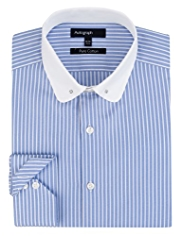 Autograph Pure Cotton Collar Bar Striped Shirt