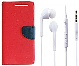 Novo Style Book Style Folio Wallet Case MicromaxCanvas Selfie Lens Q345 Red + Earphone / Handsfree with 3.5mm jack