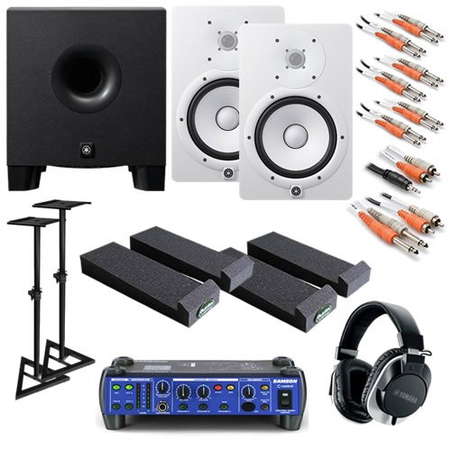 Yamaha Hs8 White Ultimate Bundle W/ Monitor Controller, Subwoofer, Stands, Phones & Cables
