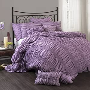 Lush Decor Madelynn 3-Piece Comforter Set, King, Purple
