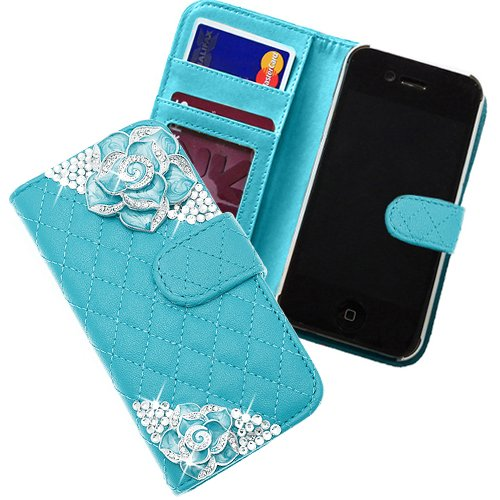 """Xtra-Funky Exclusive Faux Leather Quilted Purse Wallet Style Case With 2 Beautiful Crystal Encrusted Roses For Iphone 6 (4.7"""") - Blue"""