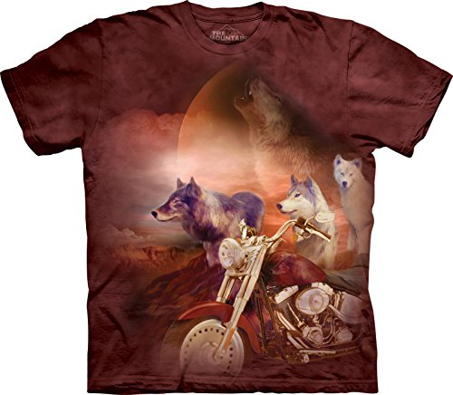 The Mountain Men's Motorcycle Wolfpack T-Shirt, Brown, Large
