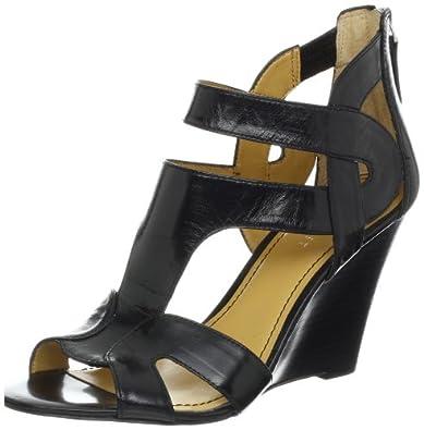 Nine West Women's Merle Wedge Sandal,Black Leather,5 M US