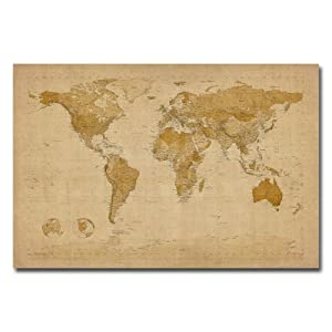 Trademark Fine Art Antique World Map by Michael Tompsett Canvas Wall Art, 22x32-Inch