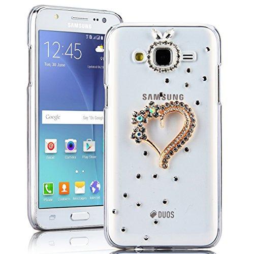 SMARTLEGEND Rigida Custodia per Samsung Galaxy J5(2015), Bling Glitter Diamante PC Hard Case Cover Bumper, Ultra Sottile Trasparente Duro Durevole Protettiva Caso con Disegno Elegante - Amore