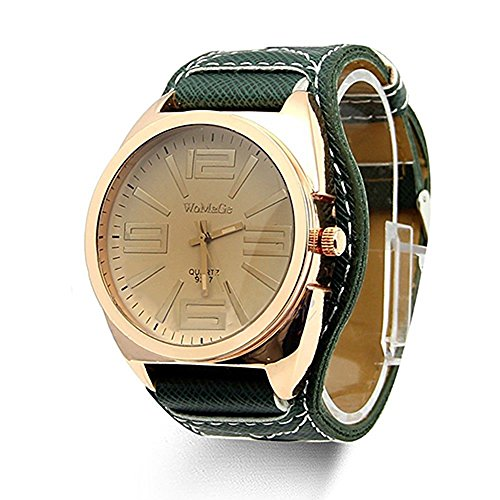Fashion Unisex Quartz Faux Leather Wrist Watch Green