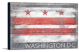 Washington DC Flag - Barnwood Painting (18x12 Gallery Wrapped Stretched Canvas)