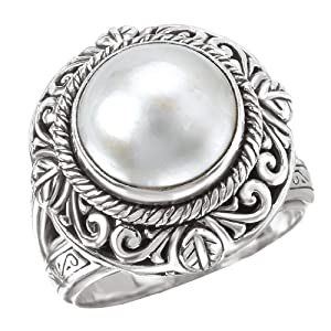 925 Silver & Mabe Pearl Intricate Scroll Ring- Sizes 6-8 by ELEMENT