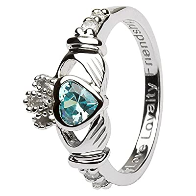 Birth Month (March) Silver Claddagh Ring - Made in Ireland