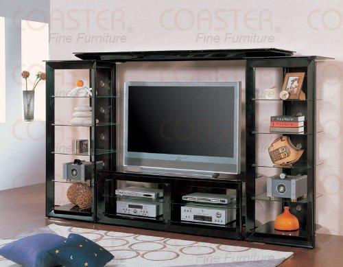 Cheap Wall Unit Tv Stand Black Glass Shelves Media Tower (B008W1B3QY)
