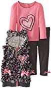 Young Hearts Baby-Girls Infant 3 Piece Print Vest Pant Set