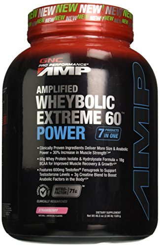 GNC Pro Performance AMP Amplified Wheybolic Extreme 60 Power Powder, Strawberry, 2.9 Pound by GNC (Wheybolic Extreme 60 Power compare prices)