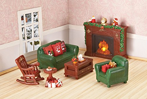 Lighted Miniature Christmas Furniture Set - 6 pc (Dollhouse Furniture Fireplace compare prices)