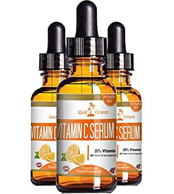 Vitamin C Serum for Face with Hyaluronic Acid - 20% C + E - Professional Topical Facial Skin Care Solution - Best for Repairing Sun Damage, Fade Age Spots, Dark Circles Under Eyes, Acne, Wrinkles and Fine Lines - 1 OZ