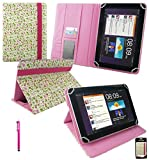 Emartbuy® Hot Pink Stylus + Universal Range ( 8 - 9 Inch ) Floral Pink / Green Multi Angle Executive Folio Wallet Case Cover With Card Slots Suitable for Archos 80 Cobalt 8 Inch Tablet