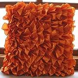 Vintage Orange - 16x16 inches Square Decorative Throw Orange Satin Pillow Covers with Satin Ruffles