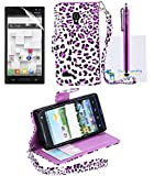 The Friendly Swede Basics - PU Leather Stand Wallet Case Cover for LG Optimus L9 P769 (T-Mobile Only) + Matching Stylus + Screen Protector + Cleaning Cloth (Purple Leopard)
