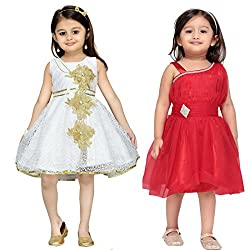 Aarika Girl's Self Design Party Wear Combo of 2 Frocks (FK-C-4-RED-CREAM_30_8-9 Years)