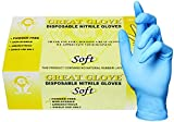 GREAT GLOVE SNM50015-L-BX Food Safe Glove, Soft, Nitrile Synthetic Rubber, 4 mil - 4.5 mil, Powder-Free, Textured, General Purpose, Latex Free, Allergy Free, Large, Blue (Pack of 100)