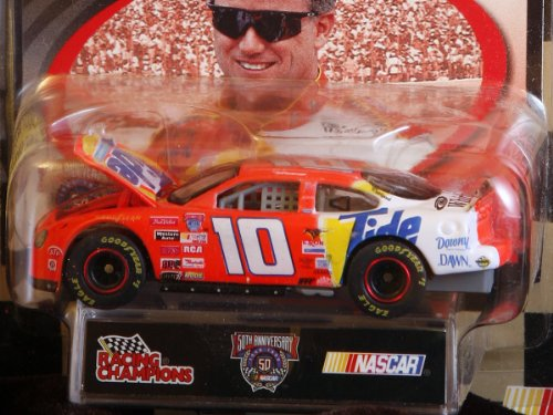 NASCAR 50th Anniversary - Racing Champions 1998 Pinnacle Collector Series - Limited Edition - 1:64 Scale Die Case Replica, Collector Card, Display Stand - Ricky Rudd #10 - Tide - Whirlpool - Ford Tarus - 1
