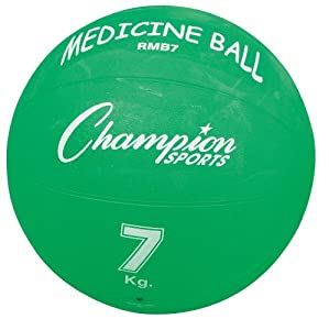 Champion Sports Rubber Medicine Balls - Lighter (Blue, 15.43-Pounds) by Champion Sports
