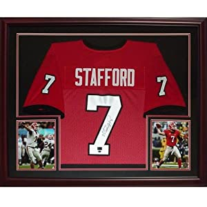 Matt Stafford Autographed Georgia Bulldogs (Red #7) Deluxe Framed Jersey - MS9 Holo by PalmBeachAutographs.com