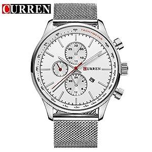 CURREN Fashion New Men's Quartz Date White Stainless Steel Band Wrist Watch 8227G