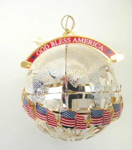 Wallace Silversmiths God Bless America Globe Ornament